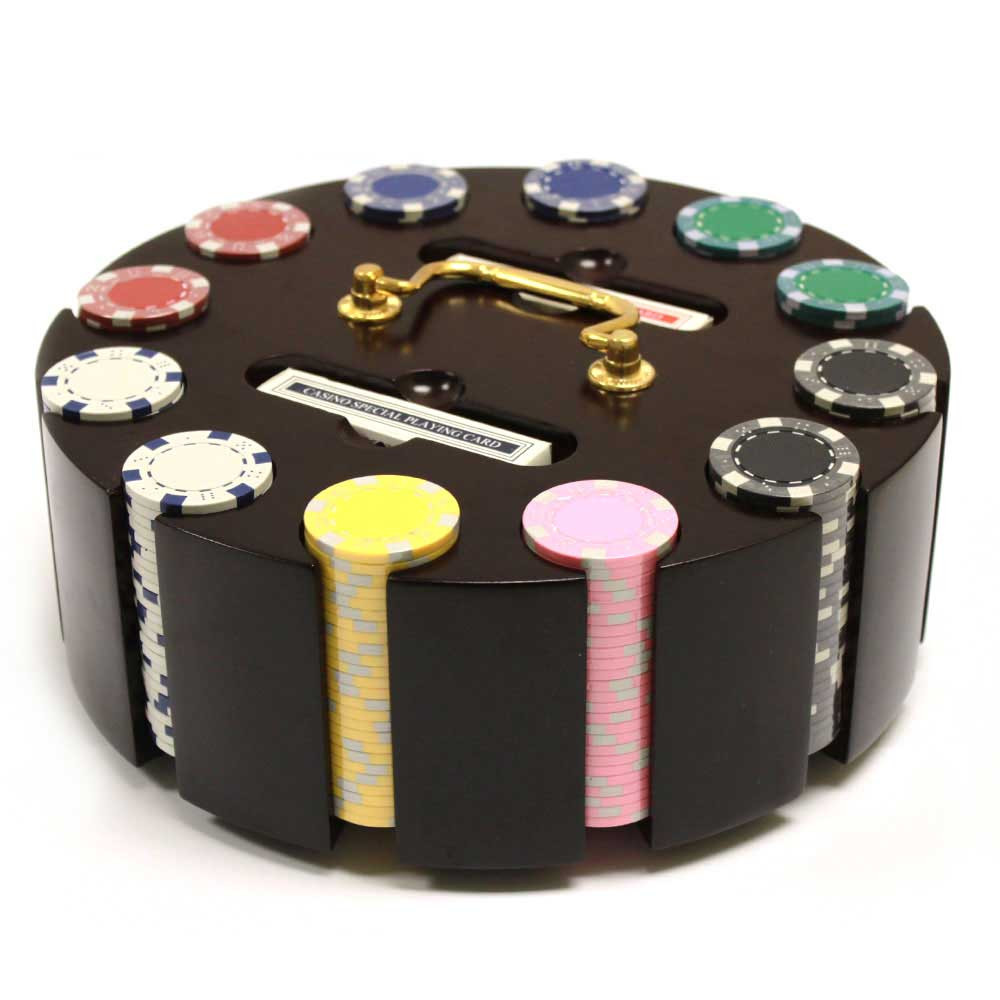 Striped Dice 300pc Poker Chip Set w/Wooden Carousel