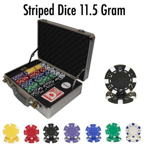 Striped Dice 300pc Poker Chip Set w/Claysmith Aluminum Case