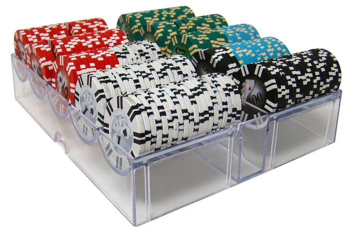 2 Stripe Twist 300pc 8 Gram Poker Chip Set w/Acrylic Tray