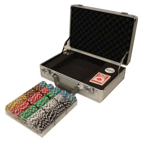 2 Stripe Twist 300pc 8 Gram Poker Chip Set w/Claysmith Aluminum Case