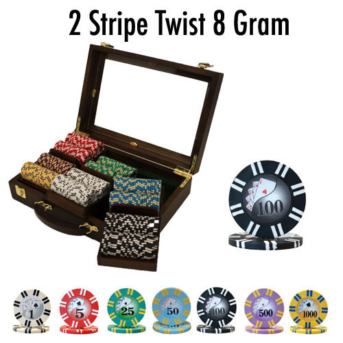 2 Stripe Twist 300pc 8 Gram Poker Chip Set w/Walnut Case