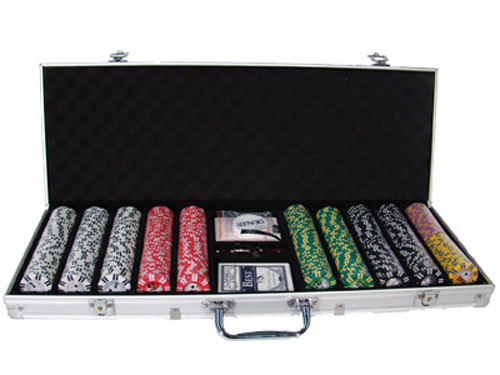 2 Stripe Twist 500pc 8 Gram Poker Chip Set w/Aluminum Case