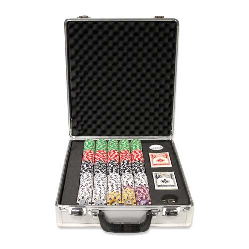 2 Stripe Twist 500pc 8 Gram Poker Chip Set w/Claysmith Aluminum Case