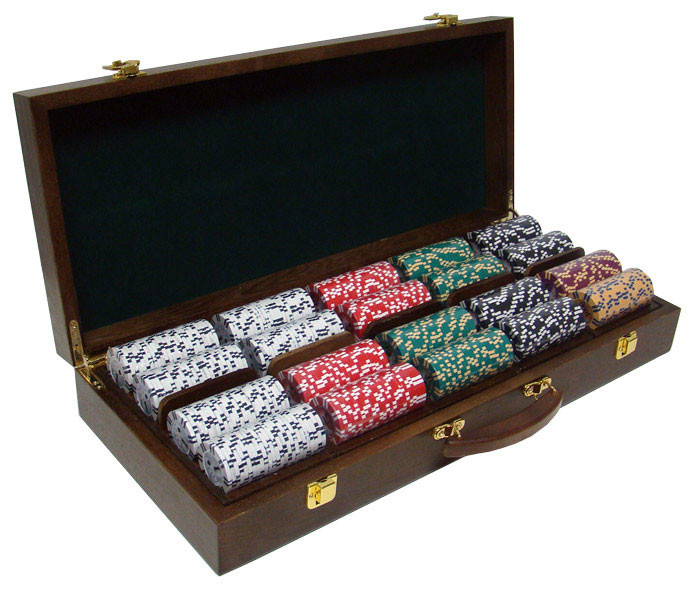 2 Stripe Twist 500pc 8 Gram Poker Chip Set w/Walnut Case