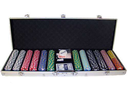 2 Stripe Twist 600pc 8 Gram Poker Chip Set w/Aluminum Case