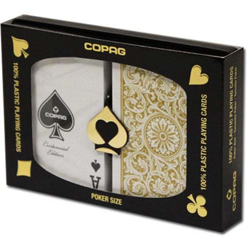 COPAG Plastic Playing Cards, Black/Gold, Poker Size, Regular Index