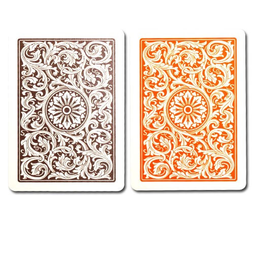 COPAG Plastic Playing Cards, Orange/Brown, Poker Size, Jumbo Index