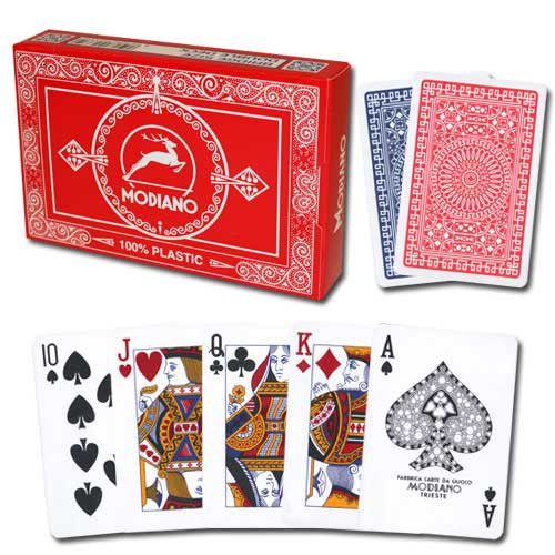 Modiano Club Plastic Playing Cards, Red/Blue, Poker Size, Regular Index