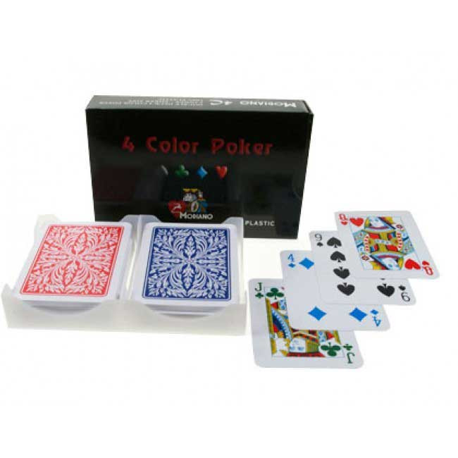 Modiano Club Plastic Playing Cards, Red/Blue, Poker Size, 4-Color Index
