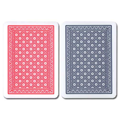 Modiano Super Fiori Plastic Playing Cards, Red/Blue, Poker Size, 4 PIP Index
