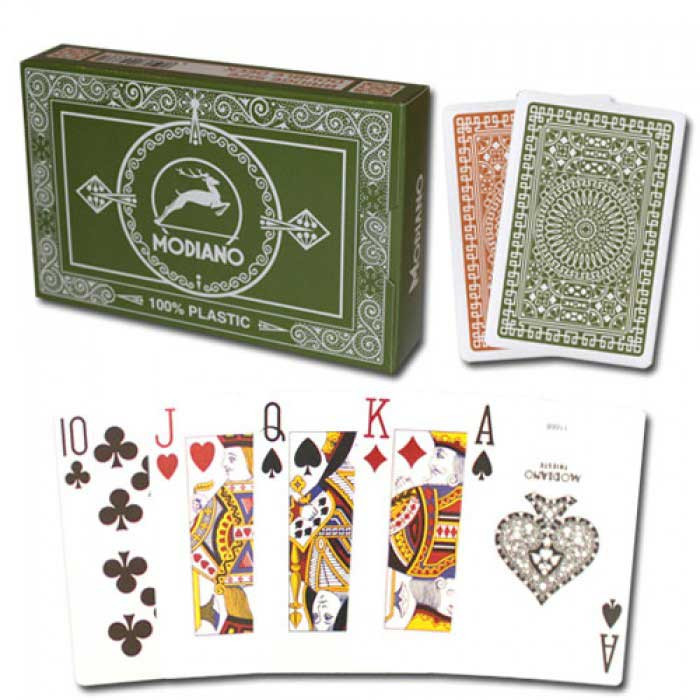 Modiano Club Plastic Playing Cards, Green/Brown, Bridge Size, Jumbo Index