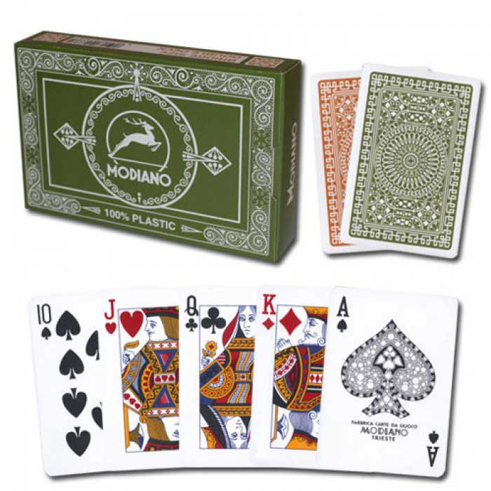 Modiano Club Plastic Playing Cards, Green/Brown, Bridge Size, Regular Index