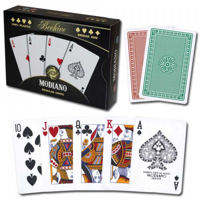 Modiano Beehive Plastic Playing Cards, Green/Brown, Bridge Size, Regular Index