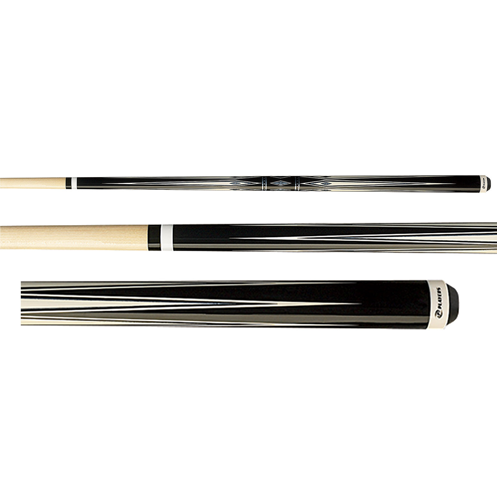 Players G-3372 Black and White Diamond Pool Cue Stick