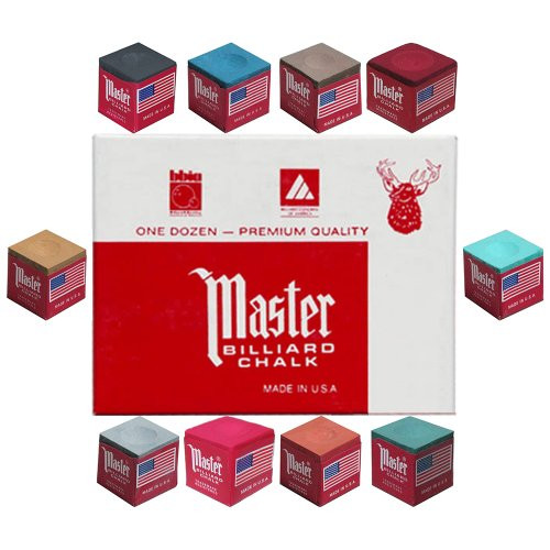 Master Billiard/Pool Cue Chalk - 1 Dozen