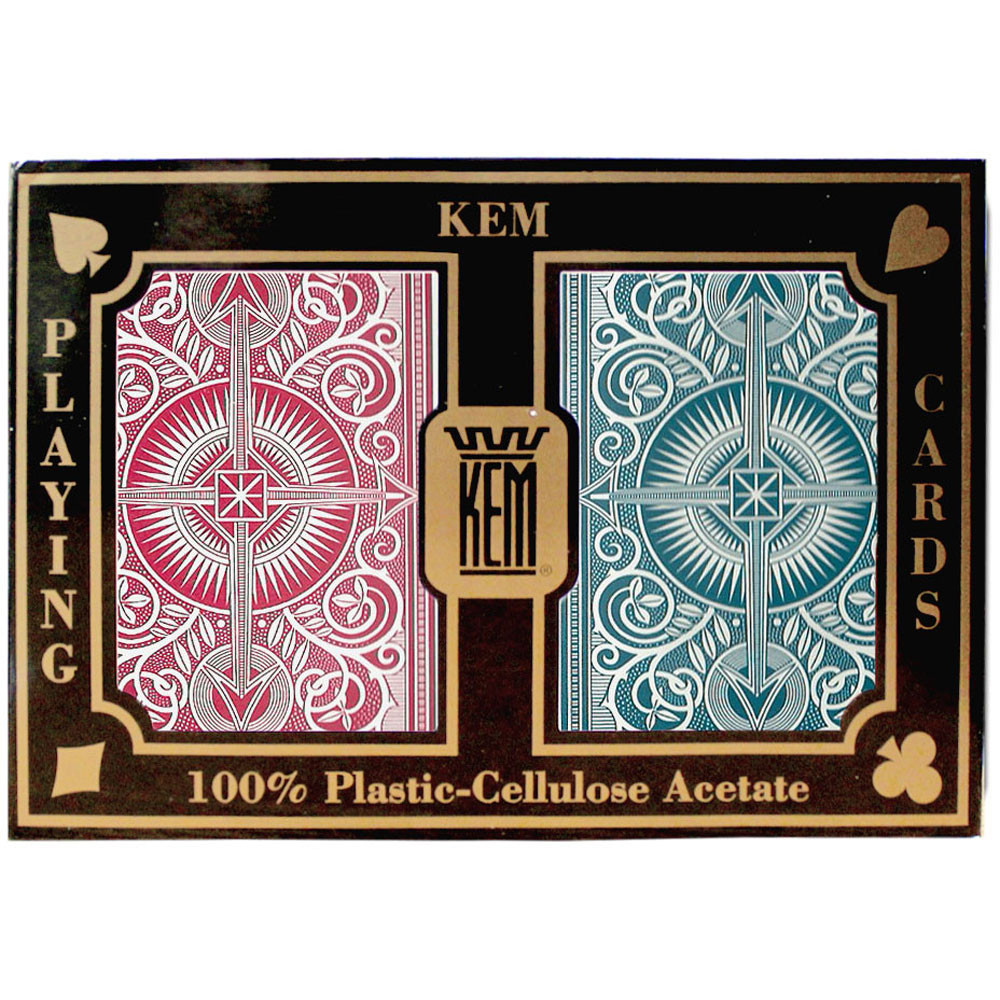 KEM Arrow Plastic Playing Cards, Red./Blue, Bridge Size, Jumbo Index