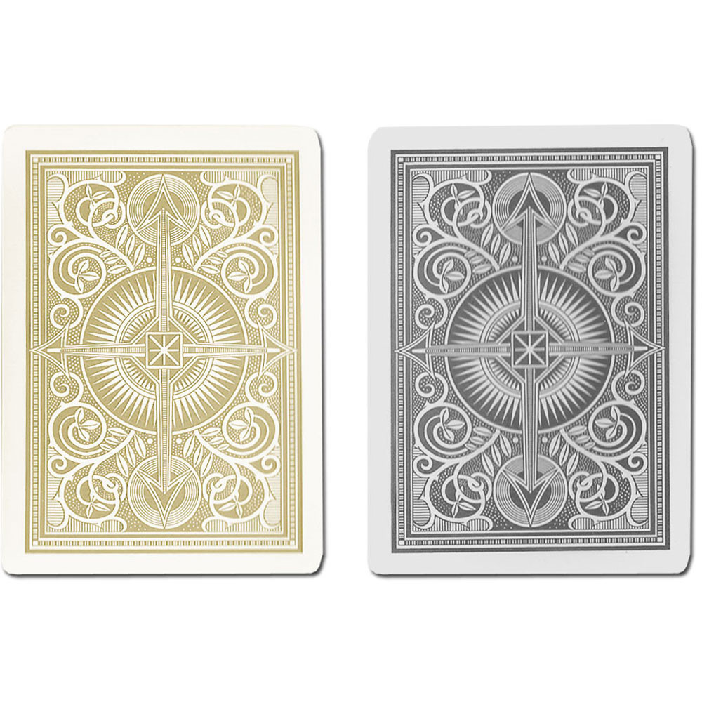 KEM Arrow Plastic Playing Cards, Black/Gold, Bridge Size, Jumbo Index