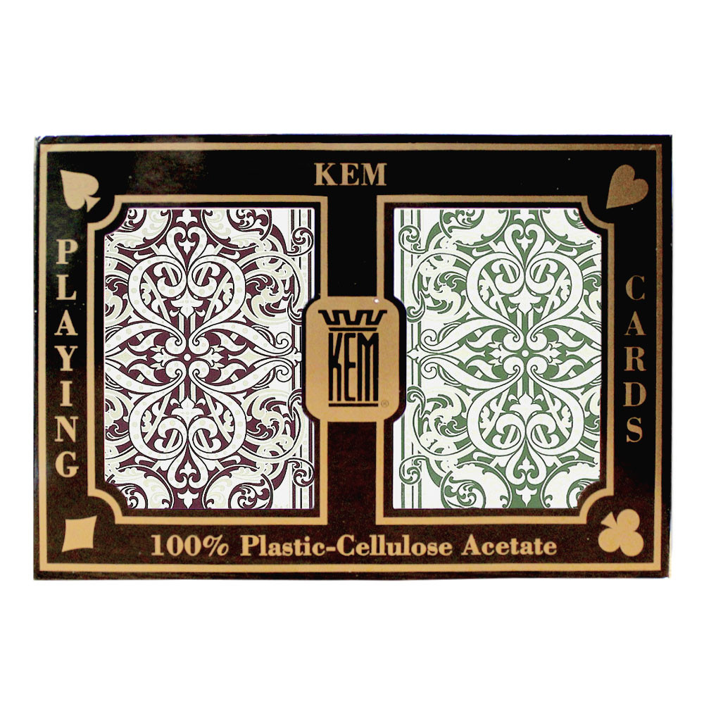 KEM Jacquard Plastic Playing Cards, Green/Burgundy, Bridge Size, Jumbo Index