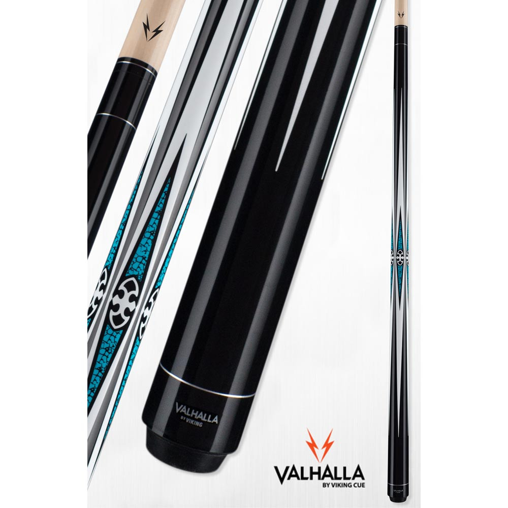 Valhalla VA491 Black and Turquoise Pool Cue Stick from Viking Cue