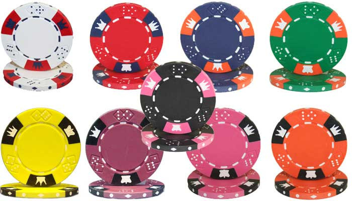 Crown & Dice 3 Tone 14 Gram Clay Composite Poker Chips