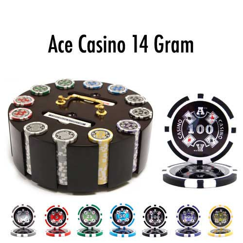 Ace Casino 14 Gram 300pc Poker Chip Set w/Wooden Carousel