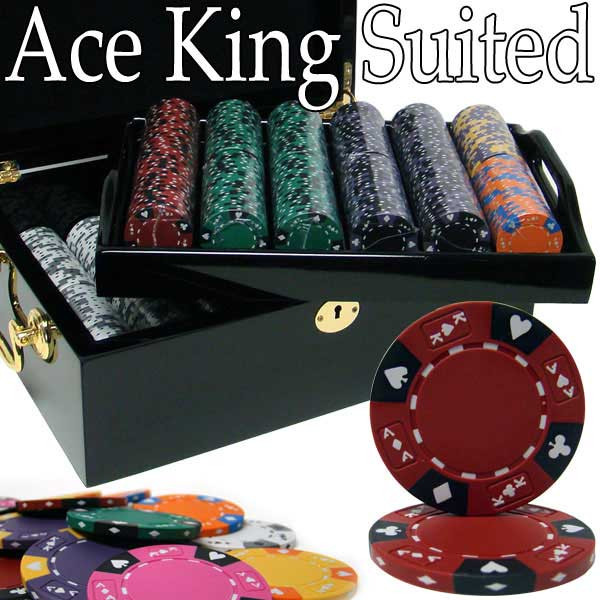 Ace King Suited 500pc Poker Chip Set w/Mahogany Case
