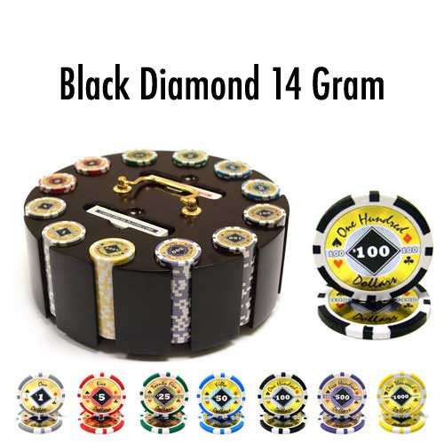 Black Diamond 14 Gram 300pc Poker Chip Set w/Wooden Carousel