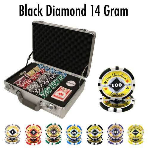 Black Diamond 14 Gram 300pc Poker Chip Set w/Claysmith Aluminum Case