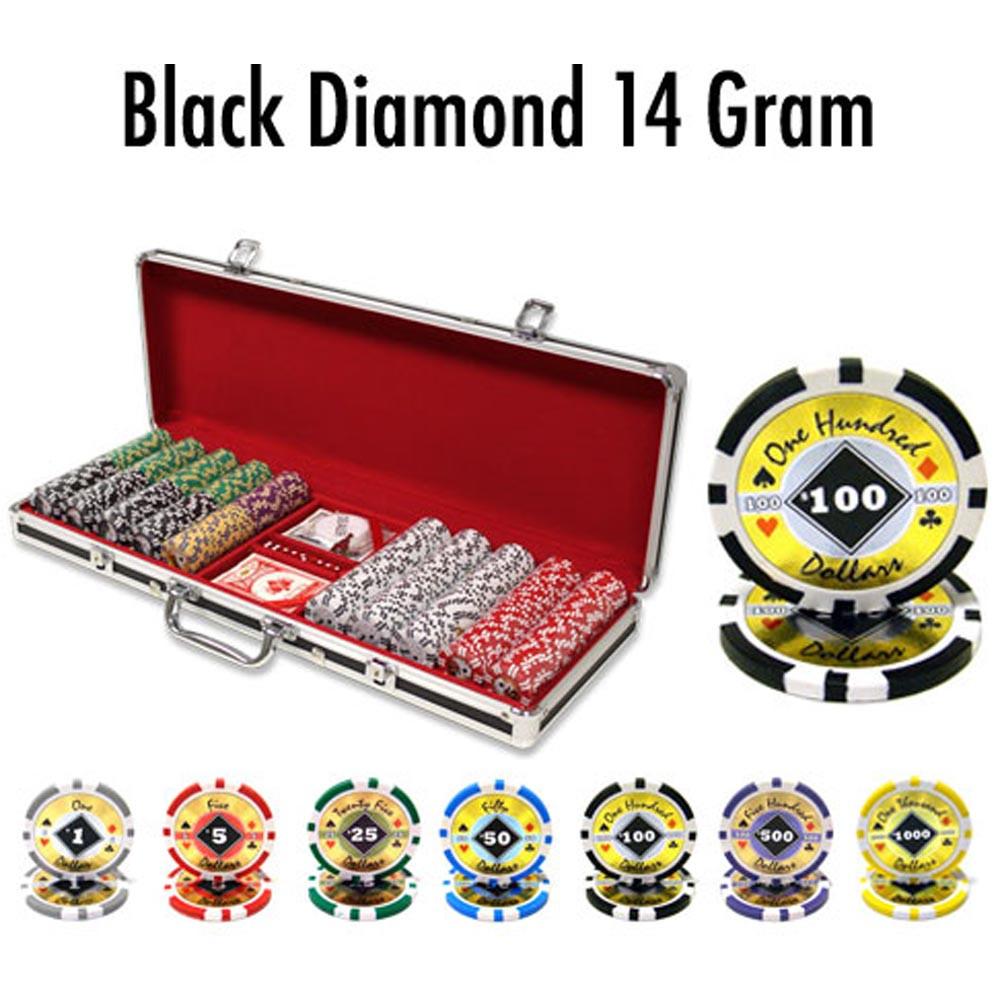 Black Diamond 14 Gram 500pc Poker Chip Set w/Black Aluminum Casel