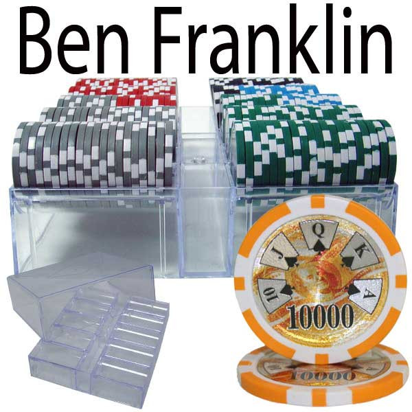 Ben Franklin 14 Gram 200pc Poker Chip Set w/Acrylic Tray