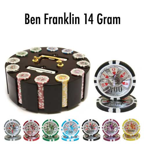 Ben Franklin 14 Gram 300pc Poker Chip Set w/Wooden Carousel