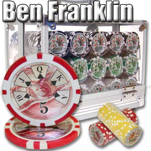 Ben Franklin 14 Gram 600pc Poker Chip Set w/Acrylic Case