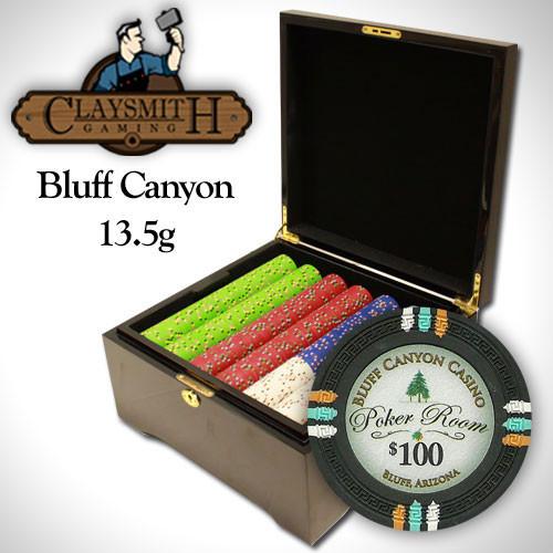 Bluff Canyon 750pc Poker Chip Set w/Mahogany Case