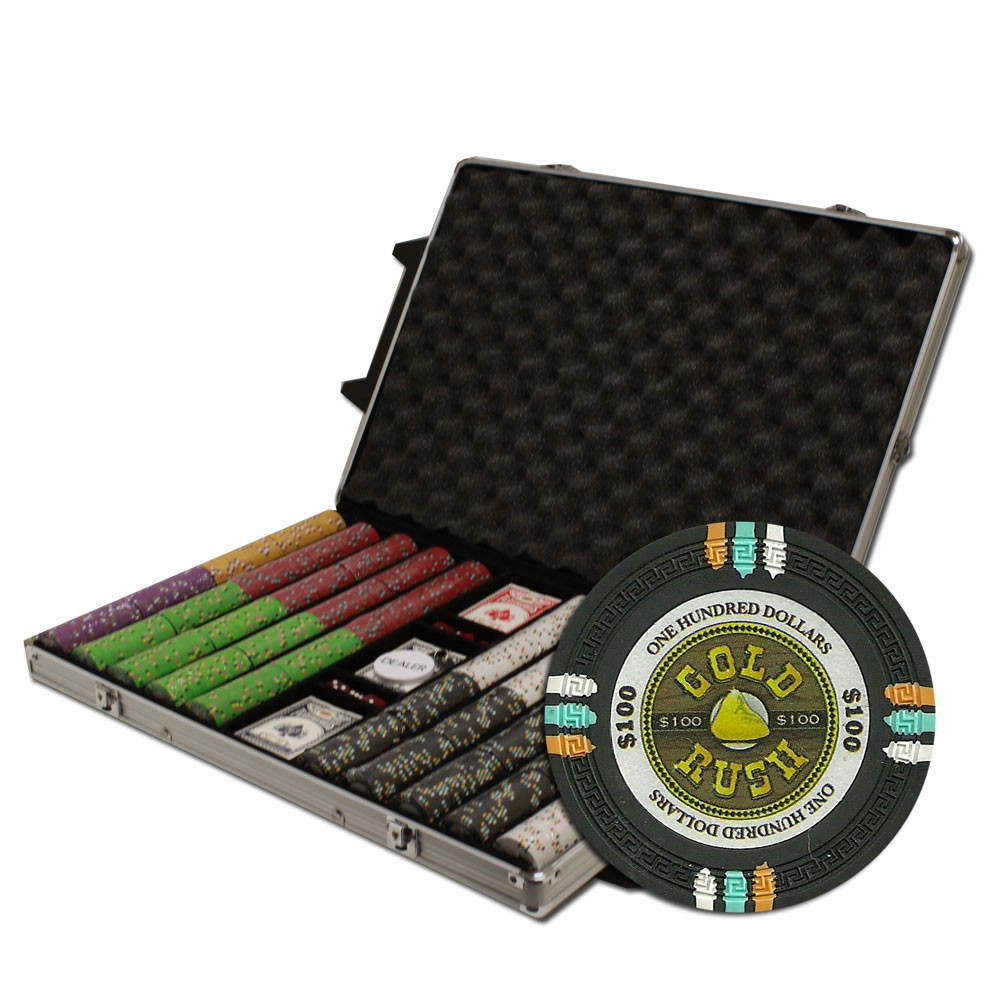 Gold Rush 1000pc Poker Chip Set w/Rolling Aluminum Case