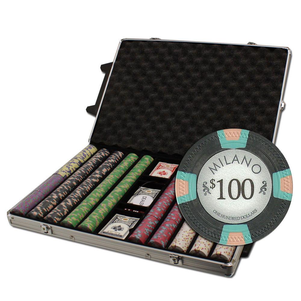 Claysmith Milano 1000pc Poker Chip Set w/Rolling Aluminum Case