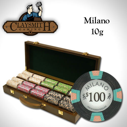 Claysmith Milano 500pc Poker Chip Set w/Walnut Case