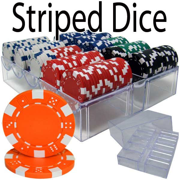 Striped Dice 200pc Poker Chip Set w/Acrylic Tray