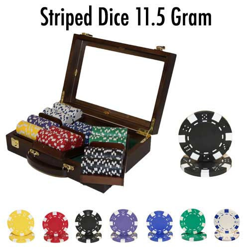 Striped Dice 300pc Poker Chip Set w/Walnut Case