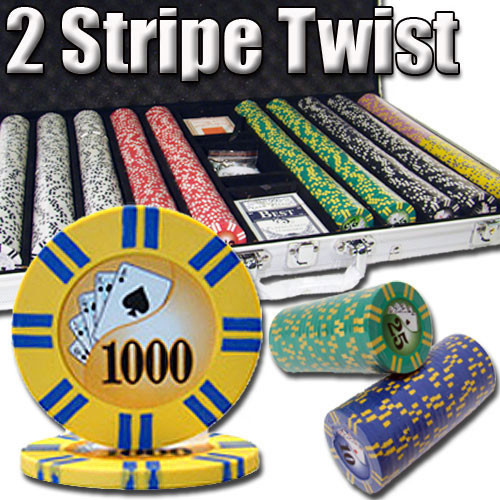 2 Stripe Twist 1000pc 8 Gram Poker Chip Set w/Aluminum Case