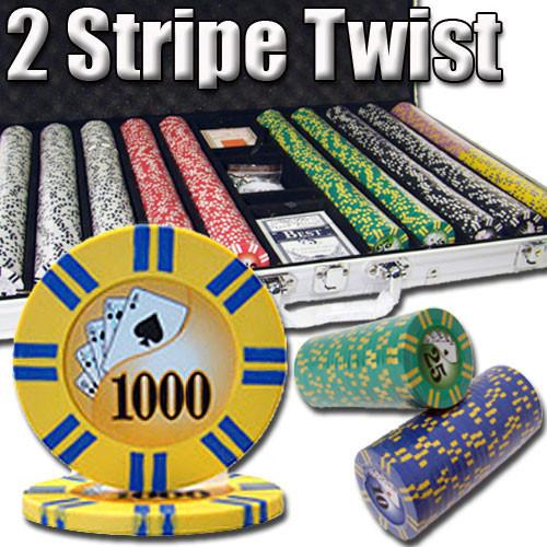 2 Stripe Twist 1000pc 8 Gram Poker Chip Set w/Aluminum Case
