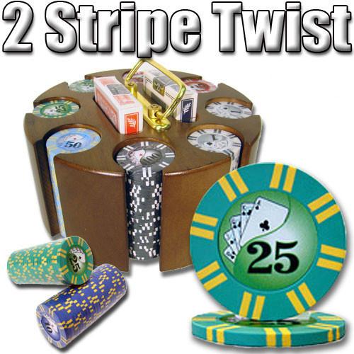 2 Stripe Twist 200pc 8 Gram Poker Chip Set w/Wooden Carousel