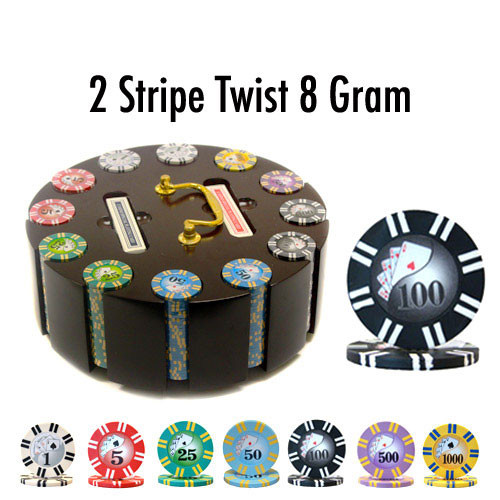 2 Stripe Twist 300pc 8 Gram Poker Chip Set w/Wooden Carousel