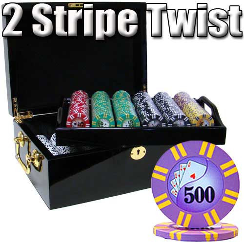 2 Stripe Twist 500pc 8 Gram Poker Chip Set w/Mahogany Case