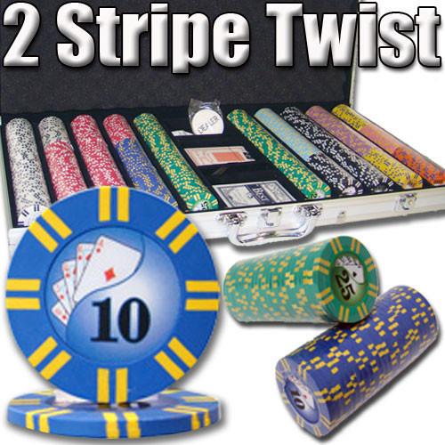 2 Stripe Twist 750pc 8 Gram Poker Chip Set w/Aluminum Case