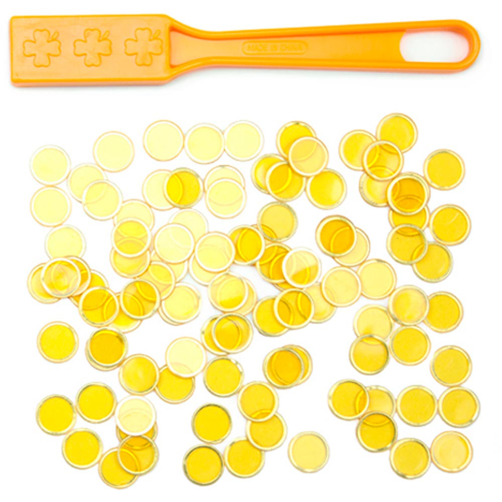 100 Yellow Magnetic Bingo Marker Chips w/Magnetic Wand