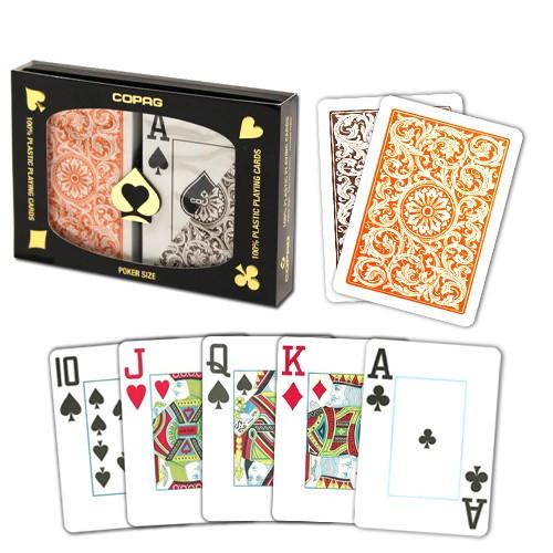 COPAG Plastic Playing Cards, Orange/Brown, Poker Size, Jumbo Index