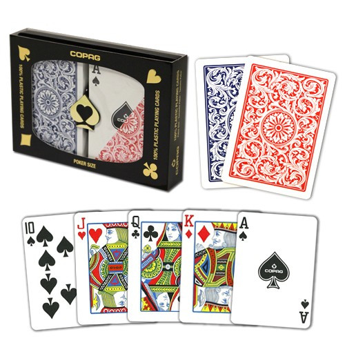 COPAG Plastic Playing Cards, Red/Blue, Poker Size, Regular Index