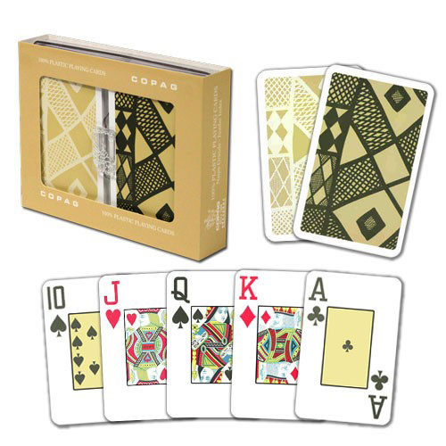 COPAG Ethnic Plastic Playing Cards, Black/Tan, Bridge SIze, Jumb Index