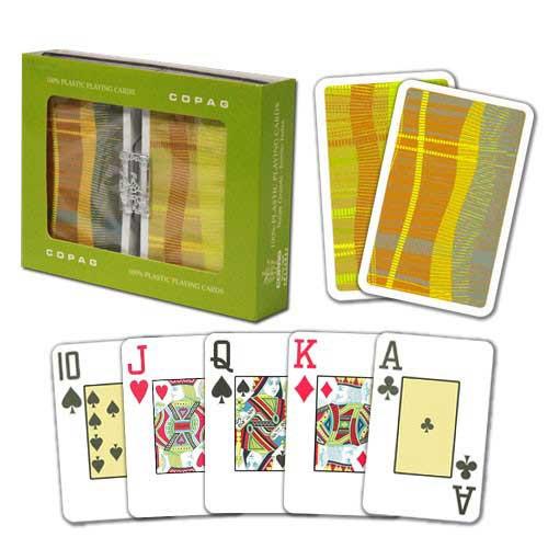 COPAG Geometric Plastic Playing Cards, Green/Orange, Bridge SIze, Jumb Index