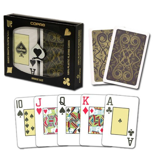 COPAG Iluminura Plastic Playing Cards, Black/Gold, Bridge SIze, Jumb Index